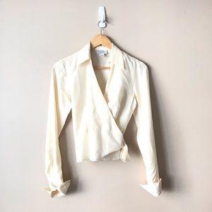 LOFT silk wrap around top